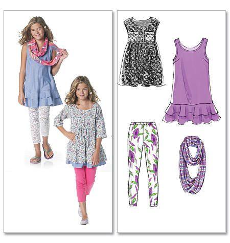patroon voor meisjesjurk, legging McCall's 6275