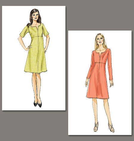 Vogue 8764 Jurk met verhoogde taillelijn in 2 variaties