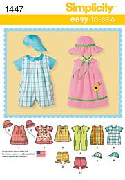 Babykleertjes met een rompertje in 2 verschillende lengtes, jurkjes, topje, broekje en hoeden.