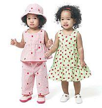 Butterick - B5629 Top, jurk, broek, luierbroekje en zonnehoedje