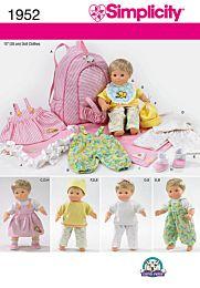Simplicity 1952 Babypoppenkleertjes, inclusief dekentje en rugzak