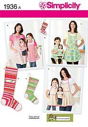 S1936 - Schort en kerstsok voor pop, kind en volwassene.