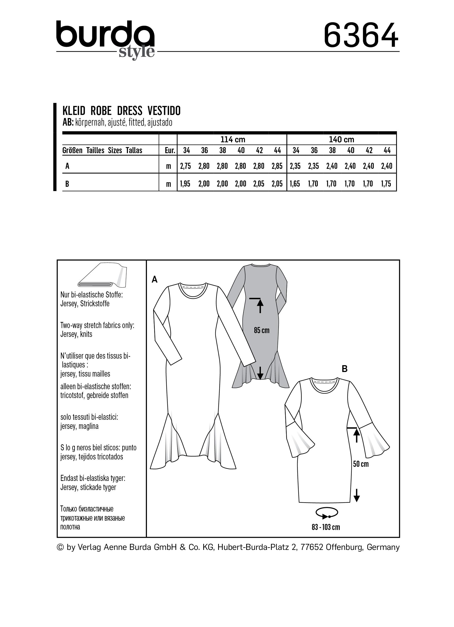 Burda - 6364 tricot jurk | Naaipatronen.nl | zelfmaakmode patroon online