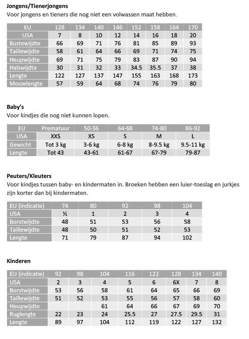 Maattabel Kinderkleding.Maattabellen Simplicity Naaipatronen Nl Zelfmaakmode Patroon Online